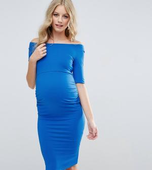 ASOS Maternity Платье для беременных с широкой горловиной. Цвет: синий