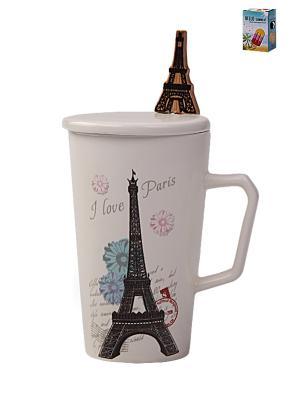 Кружка с ложкой и крышкой ПАРИЖ 350мл PATRICIA. Цвет: белый, коричневый