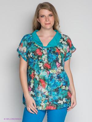 Блузка ARDATEX. Цвет: синий, бирюзовый, красный