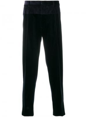 Классические брюки с контрастными панелями Gabriele Pasini. Цвет: синий