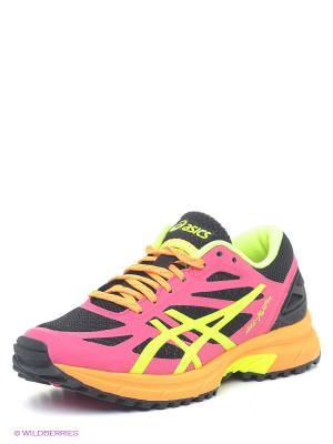 Беговые кроссовки GEL-FujiPro ASICS. Цвет: фуксия, желтый, черный