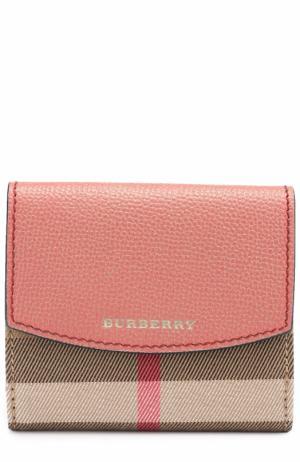 Бумажник из кожи и текстиля в клетку House Check Burberry. Цвет: красный