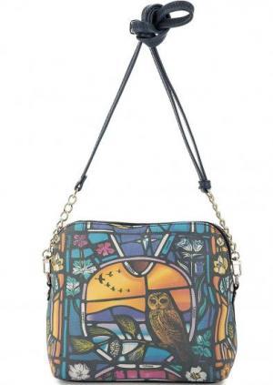 Кожаная сумка через плечо на молнии Curanni. Цвет: мультиколор