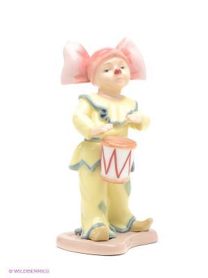 Фигурка Клоунесса с барабаном Pavone. Цвет: желтый, розовый