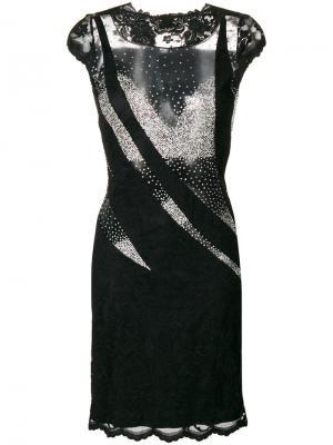 Платье с прозрачными панелями Olvi´S. Цвет: чёрный