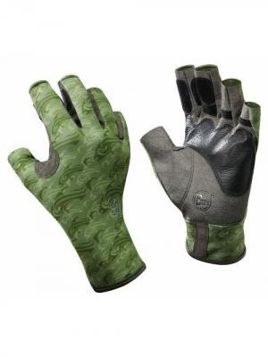 Перчатки рыболовные BUFF Pro Series Angler Gloves Skoolin Sage (св. зеленый). Цвет: оливковый