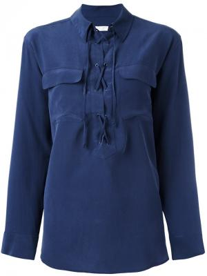 Блузка на шнуровке Equipment. Цвет: синий