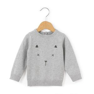 Пуловер с круглым вырезом, из тонкого трикотажа La Redoute Collections. Цвет: серый меланж