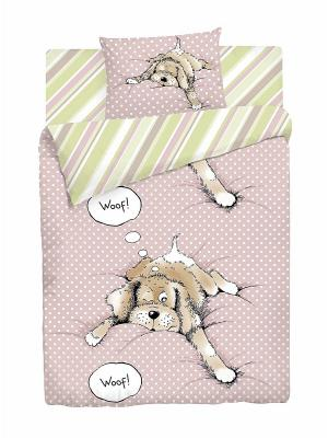 Комплект постельного белья Спящий щенок Волшебная ночь. Цвет: розовый, белый, салатовый