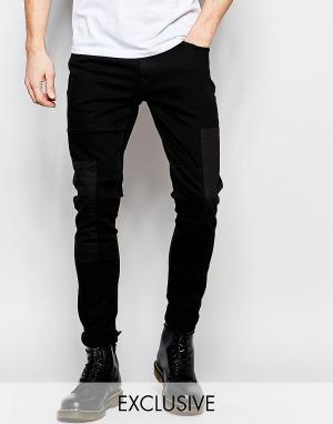 Brooklyn Supply Co. Черные суперзауженные джинсы со вставками Co. Цвет: черный
