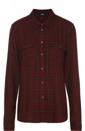 Блуза прямого кроя в клетку с накладными карманами Paige. Цвет: бордовый