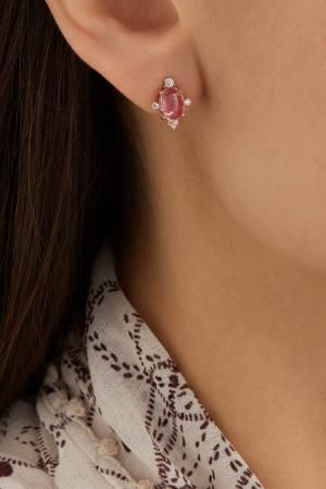 Позолоченные серебряные серьги с турмалином Moonka Studio. Цвет: розовый