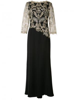 Декорированное вечернее платье Tadashi Shoji. Цвет: чёрный