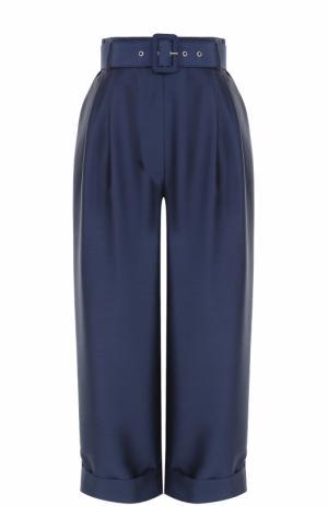 Укороченные брюки с завышенной талией и поясом Isa Arfen. Цвет: синий