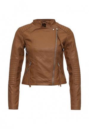 Куртка кожаная Vero Moda. Цвет: коричневый