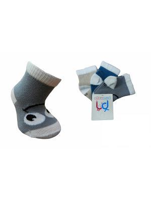Носки детские, 3 пары PERA MAYA. Цвет: серый, бежевый, синий