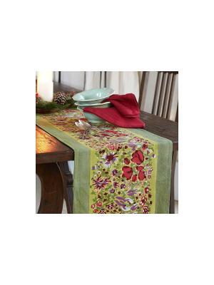 Дорожка Garden green-rouge /Сад зеленый-красный/ 45*180см, 100% хлопок Mas d'Ousvan. Цвет: зеленый, красный