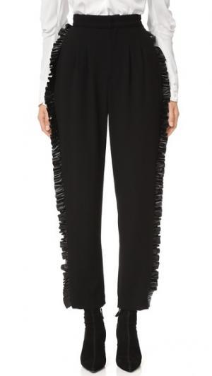 Шерстяные брюки с кожаной оборкой Rodarte. Цвет: голубой