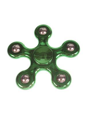 Спиннер глянцевый металлик улучшенный с шариками-утяжелителями однотонный, зеленый Радужки. Цвет: зеленый