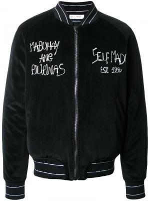 Бархатная куртка-бомбер с вышивкой Selfmade By Gianfranco Villegas. Цвет: чёрный