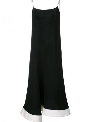 Расклешенное платье на тонких лямках Esteban Cortazar. Цвет: чёрный