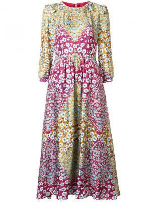 Платье миди с цветочным принтом Monique Lhuillier. Цвет: красный