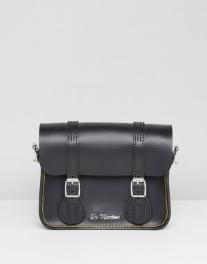 Dr Martens Черный кожаный портфель 7 дюймов. Цвет: черный