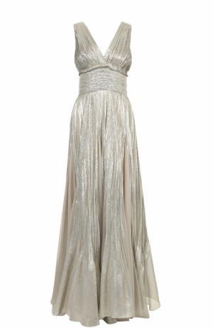 Приталенное платье-макси с V-образным вырезом и металлизированной отделкой Oscar de la Renta. Цвет: золотой