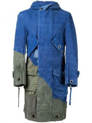 Длинная лоскутная джинсовая куртка Greg Lauren. Цвет: синий