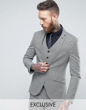 Heart & Dagger Приталенный твидовый пиджак в ломаную клетку. Цвет: серый