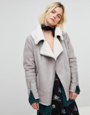 New Look Байкерская куртка-дубленка. Цвет: серый