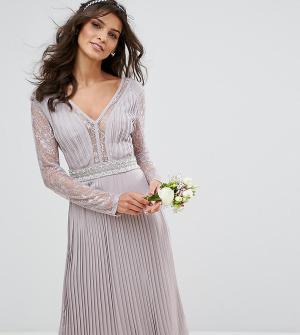 TFNC Плиссированное платье миди с длинными рукавами и кружевными вставками. Цвет: серый