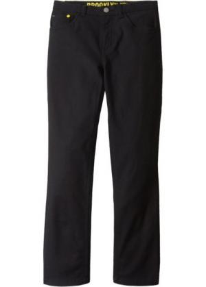 Твиловые брюки Slim Fit (черный) bonprix. Цвет: черный