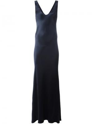 Платье с V-образным вырезом Galvan. Цвет: синий