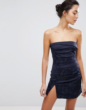Bec & Bridge Платье мини с цветочным принтом. Цвет: темно-синий