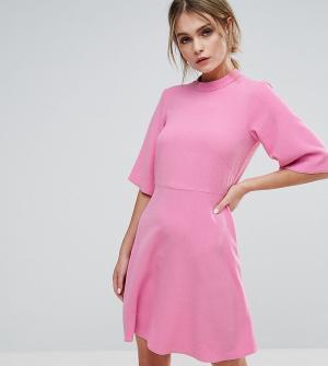 Closet London Свободное платье с высоким воротником. Цвет: розовый