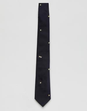 PS Paul Smith Темно-синий галстук со звездами. Цвет: темно-синий