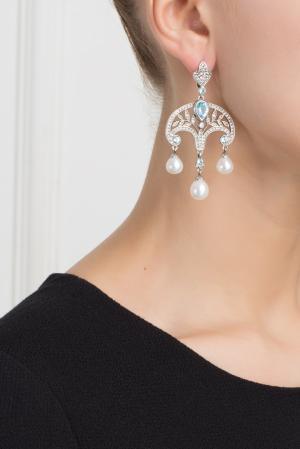 Серебряные серьги с жемчугом, голубыми и бесцветными топазами «Принцесса Ирина» Axenoff Jewellery. Цвет: серебряный, голубой