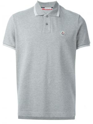 Классическая футболка-поло Moncler. Цвет: серый