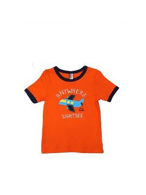 Футболка LAVIDO. Цвет: оранжевый, темно-синий