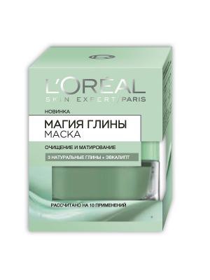 Маска для лица Магия Глины Очищение и Матирование, с эвкалиптом, всех типов кожи, 50 мл L'Oreal Paris. Цвет: зеленый
