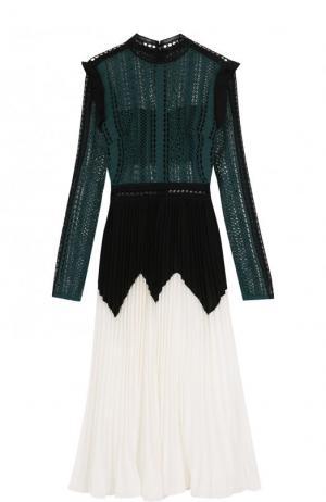 Платье-миди с кружевным лифом и плиссированной юбкой self-portrait. Цвет: разноцветный