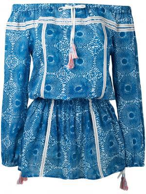 Платье с открытыми плечами Lemlem. Цвет: синий