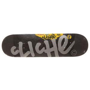 Дека для скейтборда  S6 Classic Hyb Handwritten Black/Silver 31.7 x 8.25 (21 см) Cliche. Цвет: черный,серый