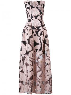 Платье в пол Locomotion Talbot Runhof. Цвет: розовый и фиолетовый