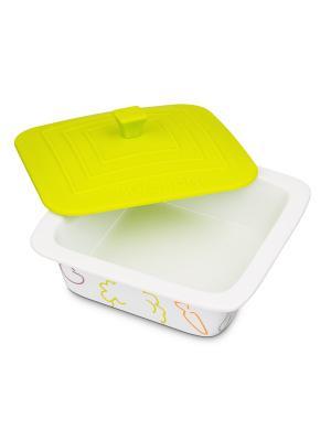 Форма для приготовления керамическая квадратная OURSSON. Цвет: салатовый, белый