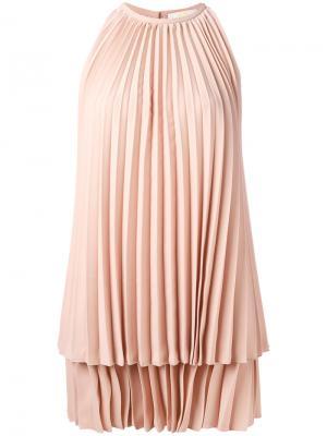 Плиссированное платье Sara Battaglia. Цвет: розовый и фиолетовый