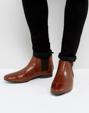 River Island Светло-коричневые кожаные ботинки челси. Цвет: рыжий