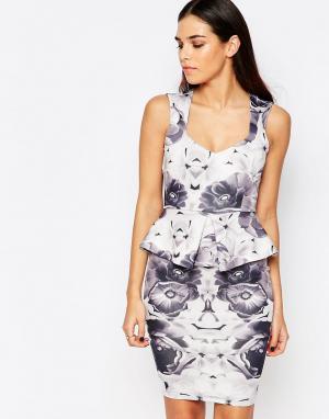 Vesper Платье миди с баской и цветочным принтом Katy. Цвет: серый