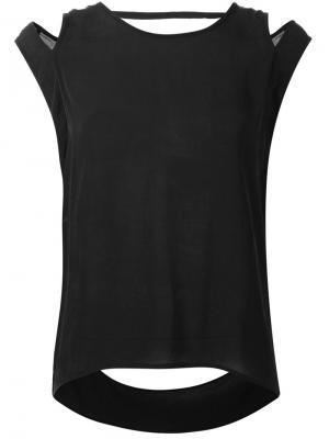 Блузка с вырезами на плечах Barbara I Gongini. Цвет: чёрный